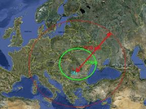 Range of NATO SM-3 Block 1B (green circle) & SM-3 Block IIA (red circle) Naval Support Facility Deveselu