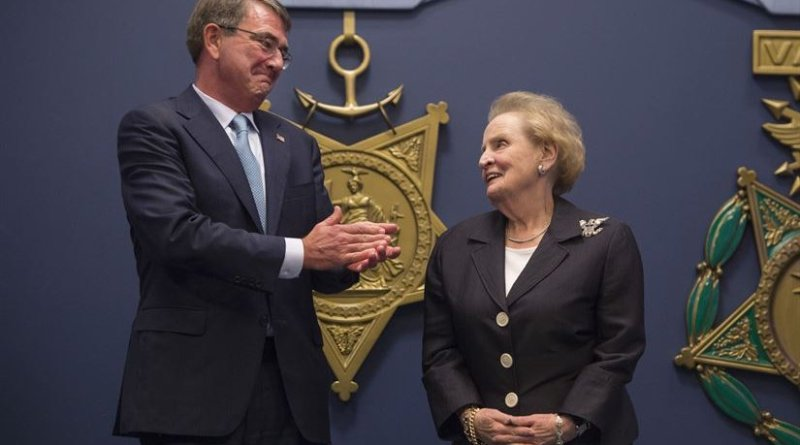 Defense Secretary Ash Carter applauds former Secretary of State Madeleine Albright for her public service achievements before he presents her with the Department of Defense Medal for Distinguished Public Service at the Pentagon June 30, 2016. DoD photo by Senior Master Sgt. Adrian Cadiz