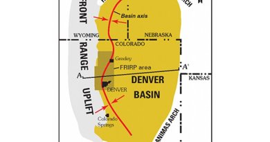 Location of the Denver Basin. Source: Wikipedia Commons.
