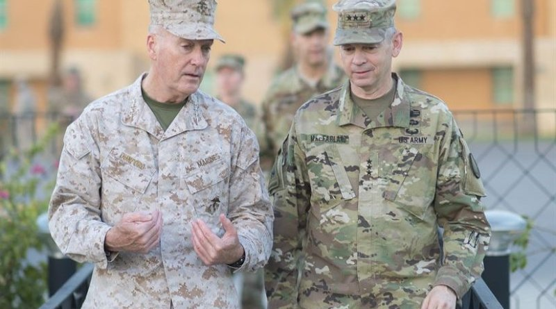 Marine Corps Gen. Joe Dunford, chairman of the Joint Chiefs of Staff, talks with Army Lt. Gen. Sean MacFarland, commander of Combined Joint Task Force Operation Inherent Resolve, at the U.S. Embassy in Baghdad, July 30, 2016. DoD photo by Navy Petty Officer 2nd Class Dominique A. Pineiro