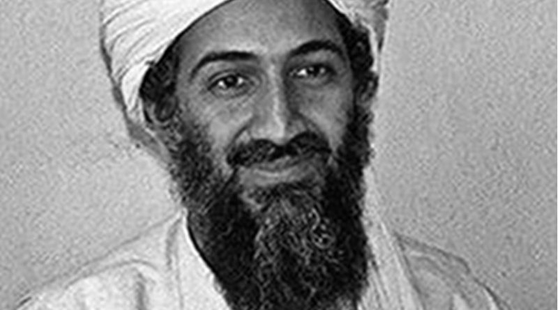 Osama bin Laden. Original photo by Hamid Mir, Wikipedia Commons.