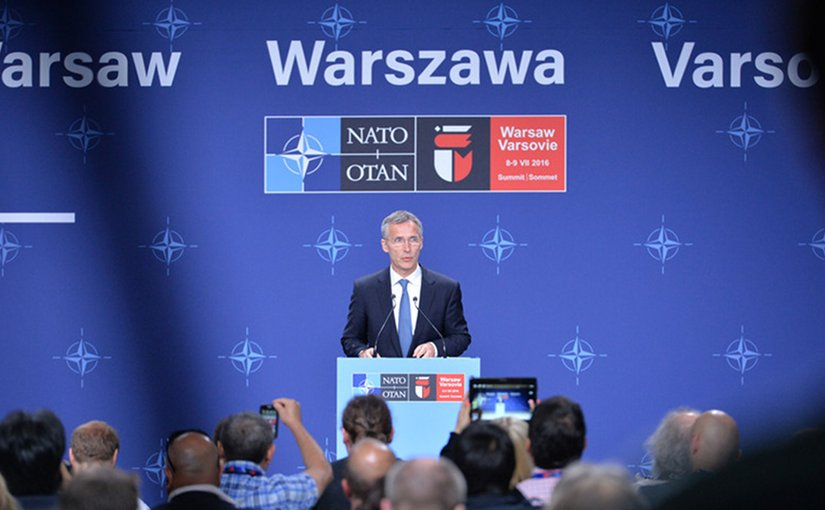 Press conference by NATO Secretary General Jens Stoltenberg following the North Atlantic Council meeting at the level of Heads of State and Government. Photo Credit: NATO