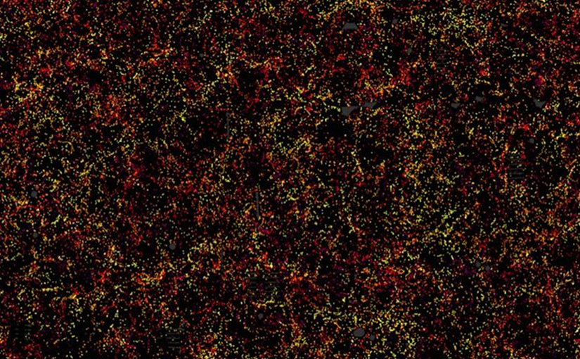 This is one slice through the map of the large-scale structure of the Universe from the Sloan Digital Sky Survey and its Baryon Oscillation Spectroscopic Survey. Each dot in this picture indi-cates the position of a galaxy 6 billion years into the past. The image covers about 1/20th of the sky, a slice of the Universe 6 billion light-years wide, 4.5 billion light-years high, and 500 million light-years thick. Color indicates distance from Earth, ranging from yellow on the near side of the slice to purple on the far side. Galaxies are highly clustered, revealing superclusters and voids whose presence is seeded in the first fraction of a second after the Big Bang. This image contains 48,741 galaxies, about 3% of the full survey dataset. Grey patches are small regions without survey data. Credit Daniel Eisenstein and SDSS-III