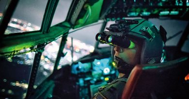 C-130 Hercules pilot with 36th Airlift Squadron performs visual confirmation with night vision goggles during training mission over Kanto Plain, Japan, October 14, 2015 (U.S. Air Force/Osakabe Yasuo)