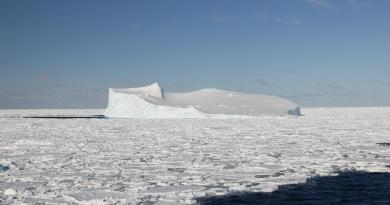 This is an Iceberg in Antarctic sea ice. Credit Caitlin Gionfriddo, University of Melbourne