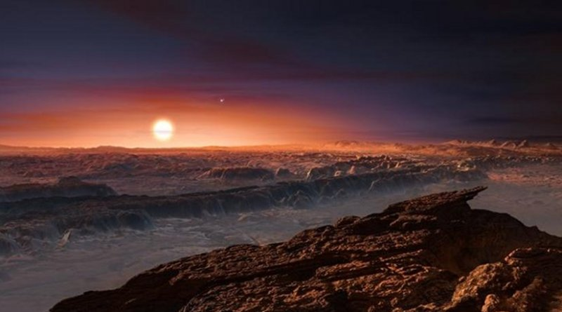 This artist's impression shows a view of the surface of the planet Proxima b orbiting the red dwarf star Proxima Centauri, the closest star to the Solar System. The double star Alpha Centauri AB also appears in the image to the upper-right of Proxima itself. Proxima b is a little more massive than the Earth and orbits in the habitable zone around Proxima Centauri, where the temperature is suitable for liquid water to exist on its surface. Credit Image is courtesy of ESO/M. Kornmesser.
