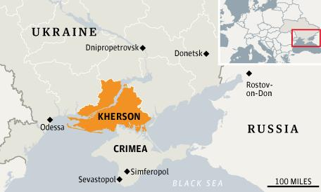 Map of the Kherson region in reference to Ukraine and Russia (Source: Wikipedia)