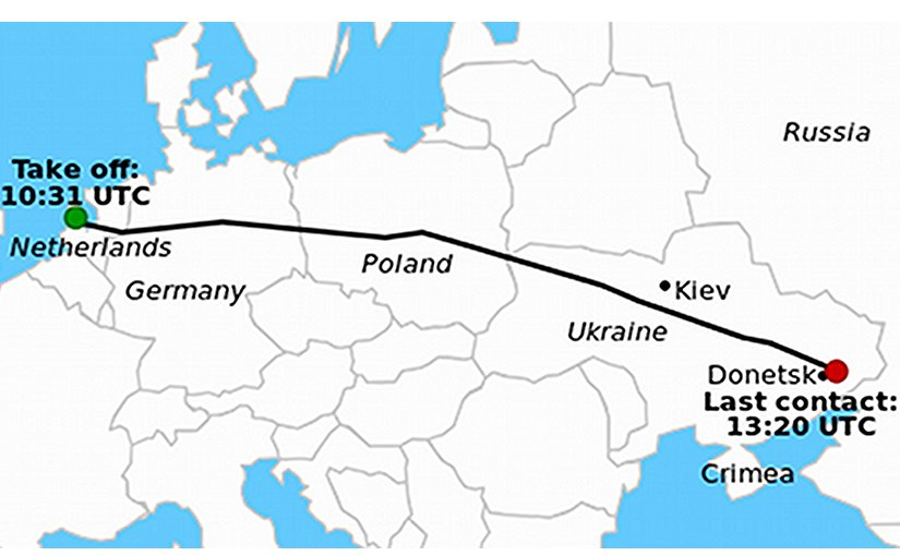 Route of Malaysia Airlines Flight 17. Graphic by Geordie Bosanko and cmglee, Wikipedia Commons.