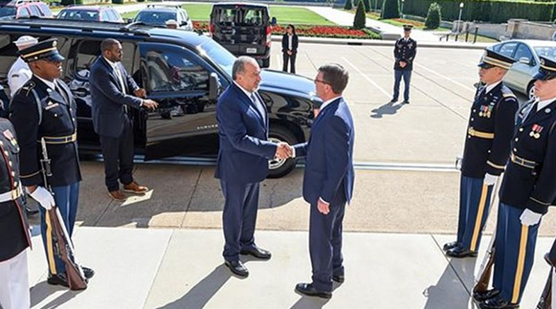 Defense Secretary Ash Carter, right, greets Israeli Defense Minister Avigdor Lieberman at the Pentagon, June 20, 2016, before a meeting to discuss the U.S.-Israel defense relationship. Carter met with Israeli Defense Minister Avigdor Lieberman on the margins of the U.K.-hosted U.N. Peacekeeping Defense Ministerial in London, Sept. 7, 2016. DoD photo by Army Sgt. 1st Class Clydell Kinchen