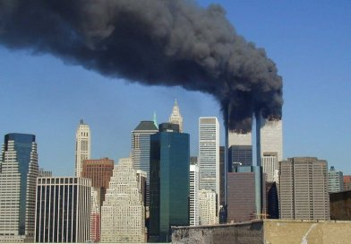 Plumes of smoke billow from the World Trade Center towers in Lower Manhattan, New York City, after a Boeing 767 hits each tower during the September 11 attacks. Photo by Flickr user Michael Foran, Wikipedia Commons.