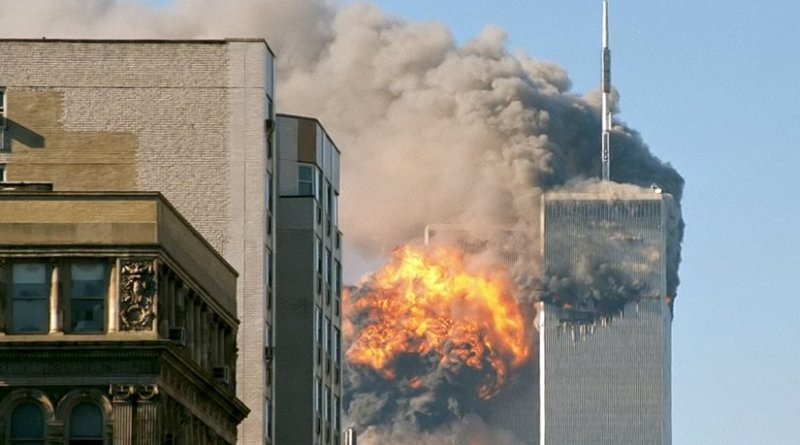 United Airlines Flight 175 crashes into the south tower of the World Trade Center complex in New York City during the September 11 attacks. Source: Wikipedia Commons.