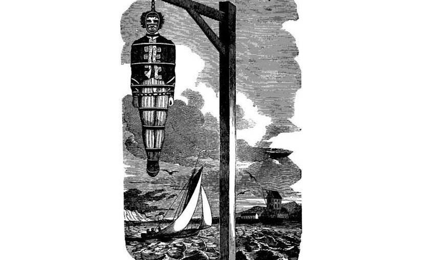 Captain Kidd, who was tried and executed for piracy, hanging in chains. Source: The Pirates Own Book, by Charles Ellms, Wikipedia Commons.