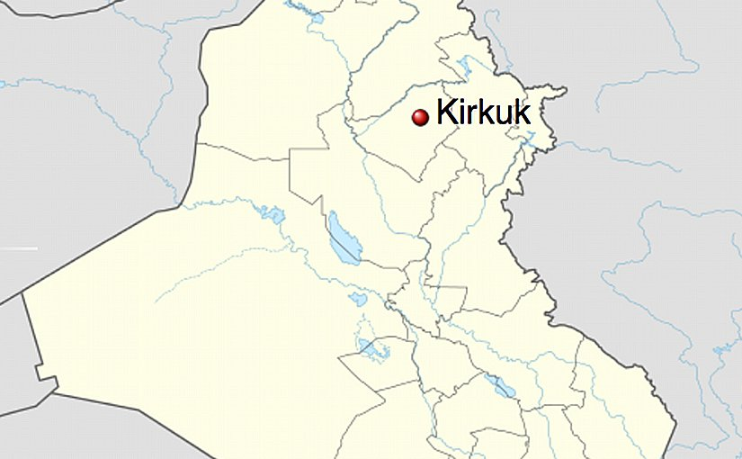 Kirkuk's location in Iraq. Source: Wikipedia Commons.