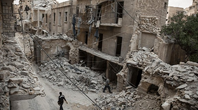 """One of literally hundreds of examples in Aleppo of internationally-banned weapons which cause """"superfluous injury or unnecessary suffering or which are """"inherently indiscriminate"""" such as cluster bombs, barrel bombs, rebel 'Hell Cannons' or incendiary weapons. Photo: Franklin Lamb"""