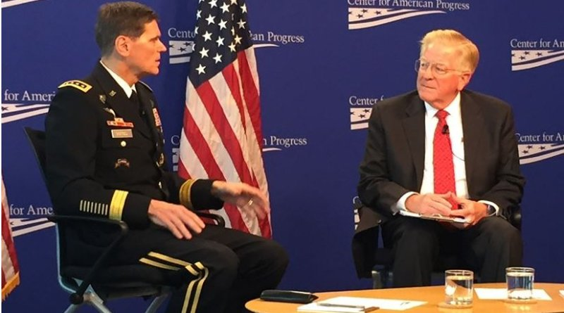 Army Gen. Joseph L. Votel, commander of U.S. Central Command, discusses the strategy to counter the Islamic State of Iraq and the Levant and other regional issues with former Deputy Defense Secretary Rudy DeLeon at the Center for American Progress in Washington, Oct. 19, 2016. DoD photo by Jim Garamone
