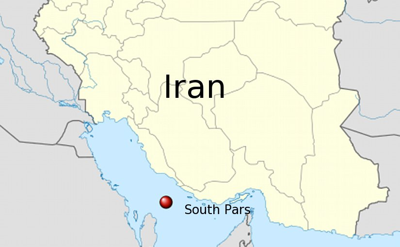 Location of South Pars / North Dome Field and Iran. Source: Wikipedia Commons.