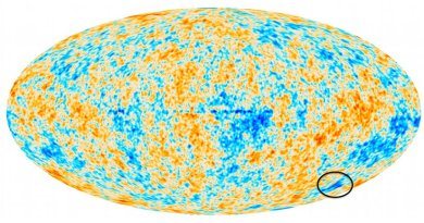 The cosmic microwave background over the whole sky, with the unusual 'Cold Spot' feature circled at the lower right.