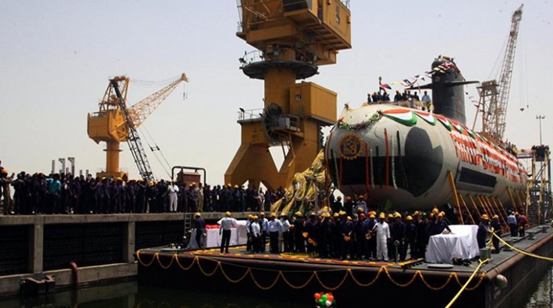 India's NS Kalvari at the Mazagon Dock Limited on the day of her undocking. Source: Indian Navy, Wikipedia Commons.