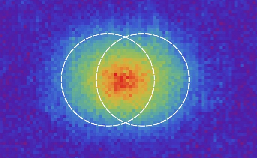 Optical resolution is the ability of an imaging system to distinguish between closely spaced objects. In the picture, we show two points separated by the Rayleigh's limit, as observed in the experiment. Credit Martin Paúr - Palacký University.