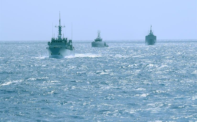 The Canadian ship HMCS Shawinigan, the Trinidad and Tobago Coast Guard TTS QUINAM and the French Tank Landing Ship Dumont D'Urville, line up during the Tradewinds 2016 exercise in the Caribbean Sea, June 26, 2016. Navy photo by Petty Officer 1st Class Todd Stafford
