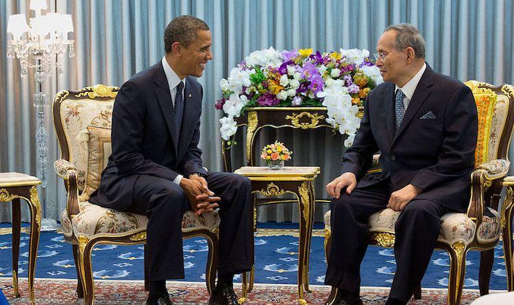 President Barack Obama with King Bhumibol Adulyadej of the Kingdom of Thailand, at Siriraj Hospital in Bangkok, Thailand, Nov. 18, 2012. White House Photo by Pete Souza.