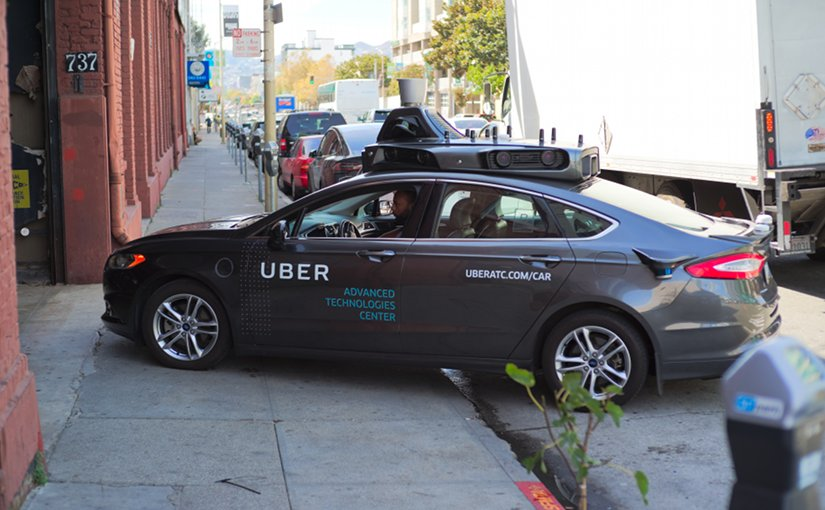 Uber autonomous vehicle testing in San Francisco in October 2016. Photo by Dllu, Wikipedia Commons.