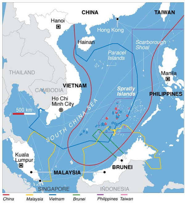 Territorial claimants in the South China Sea dispute[34]