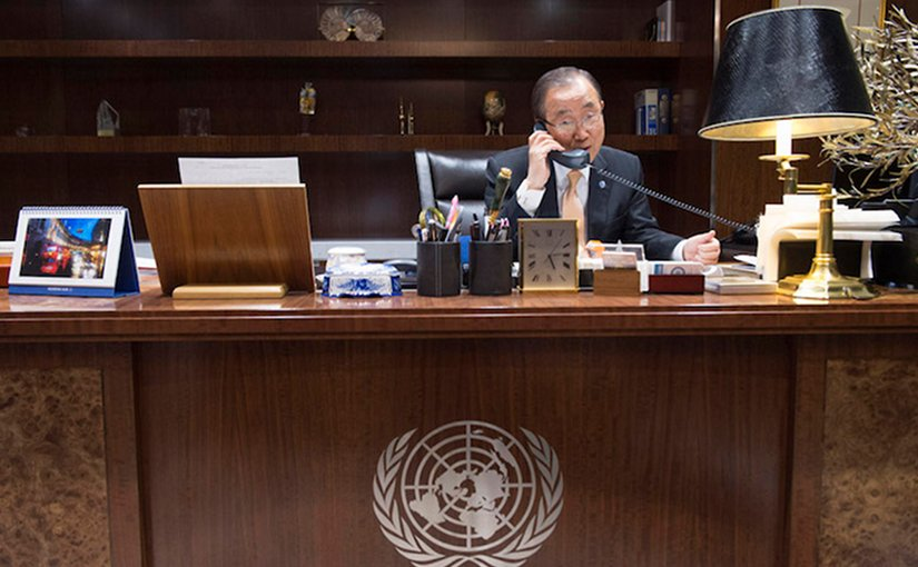 UN Secretary-General Ban Ki-moon speaks by phone with Donald Trump, President-elect of the United States on 11 November 2016. Photo via IDN.
