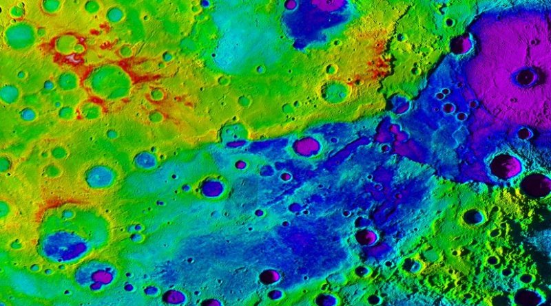 Using colorized topography, Mercury's 'great valley' (dark blue) and Rembrandt impact basin (purple, upper right) are revealed in this high-resolution digital elevation model merged with an image mosaic obtained by NASA's MESSENGER spacecraft. Credit NASA/JHUAPL/Carnegie Institution of Washington/DLR/Smithsonian Institution
