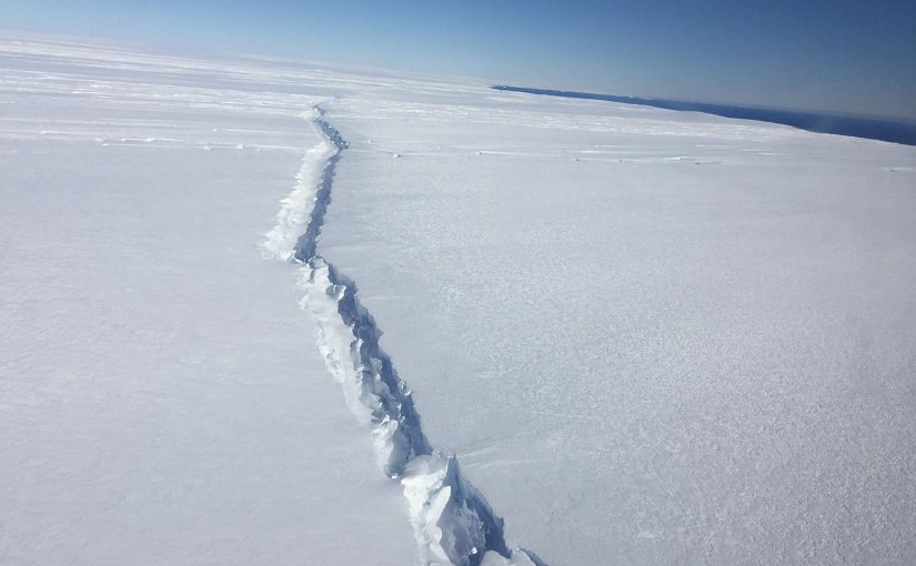 Rift in Pine Island Glacier ice shelf, West Antarctica, photographed from the air during a NASA Operation IceBridge survey flight on Nov. 4, 2016. This rift is the second to form in the center of the ice shelf in the past three years. The first resulted in an iceberg that broke off in 2015. Credit Credit NASA/Nathan Kurtz.