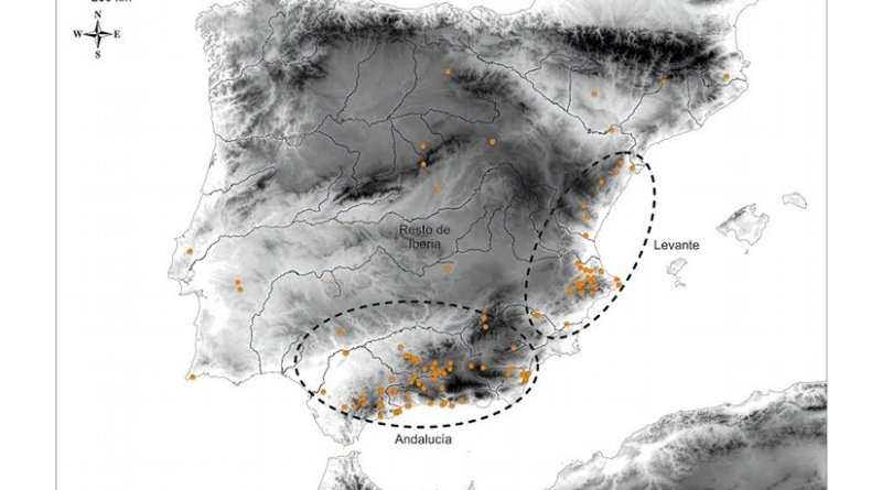 Map presenting the distribution of the bracelets and the different cultural areas defined by the UGR researcher