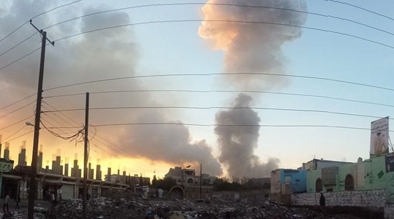 An airstrike in Sana'a, Yemen. Photo by Ibrahem Qasim, Wikipedia Commons.