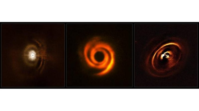 These three planetary discs have been observed with the SPHERE instrument, mounted on ESO's Very Large Telescope. The observations were made in order to shed light on the enigmatic evolution of fledgling planetary systems. The central parts of the images appear dark because SPHERE blocks out the light from the brilliant central stars to reveal the much fainter structures surrounding them. Credit ESO