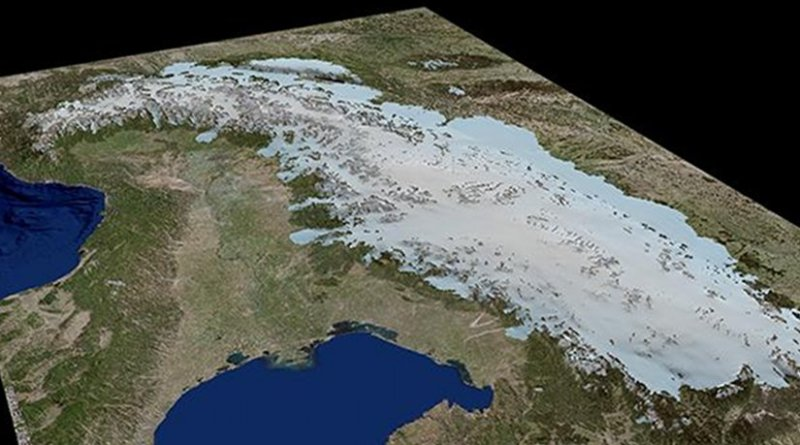 this is a 3-D ice-model of the Alps during Last Glacial Maximum. Credit Figure: University of Potsdam, background model based on ESRI Germany data
