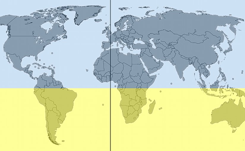 The Southern Hemisphere highlighted in yellow (Antarctica not depicted). Graphic by DLommes, Wikipedia Commons.