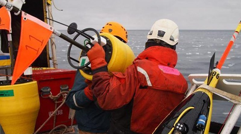 Researchers prepare to drop a buoy into the Arctic Ocean. Scientists sponsored by the Office of Naval Research have traveled to the region to study the changing environment-and provide new tools to help the US Navy operate in a once-inaccessible area. Credit (Photo courtesy of Jim Thomson from the University of Washington/Applied Physics Laboratory)