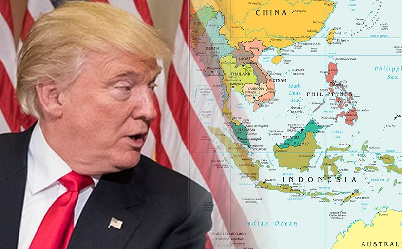 Donald Trump and Southeast Asia. Photo montage of CIA World Factbook map and photo by Caleb Smith; Office of the Speaker of the House.