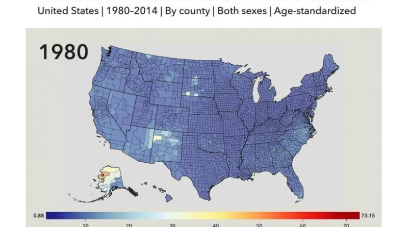 visualizing mortality from mental and substance use disorders from 1980 to 2014 by county. Credit Institute for Health Metrics and Evaluation