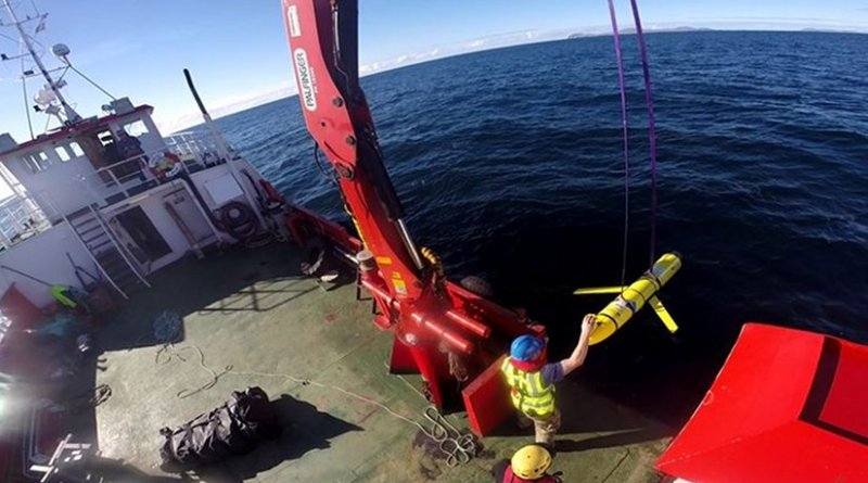 Crew members aboard the VOS Raasay recover U.S. and British Royal Navy ocean gliders taking part in the Unmanned Warrior exercise off the northwest coast of Scotland, Oct. 8, 2016. A similar unmanned underwater vehicle was seized by the Chinese Navy in international waters off the coast of the Philippines Dec. 15. Navy photo by Cmdr. Santiago Carrizosa