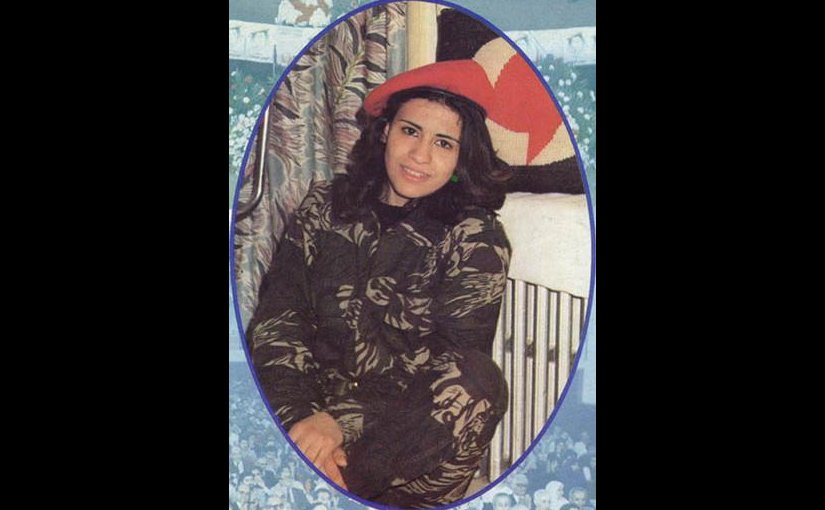 Sana'a Mehaidli, first female suicide bomber. A propaganda poster from the Syrian Social Nationalist Party web-site.