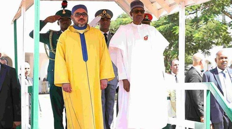 Morocco's King Mohammed VI and the Nigerian President Muhammadu Buhari