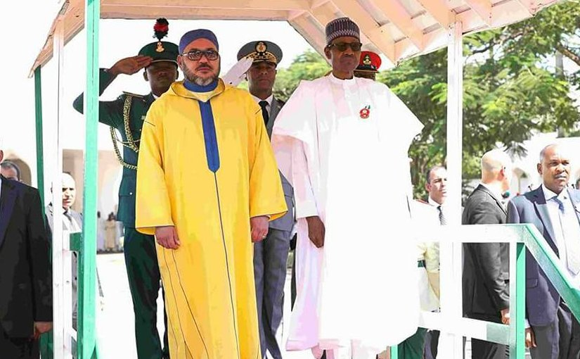 Morocco's King Mohammed VI and the Nigerian President Muhammadu Buhari