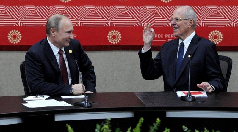 Russia's Vladimir Putin with Peru's Pedro Pablo Kuczynski. Source: Kremlin.ru