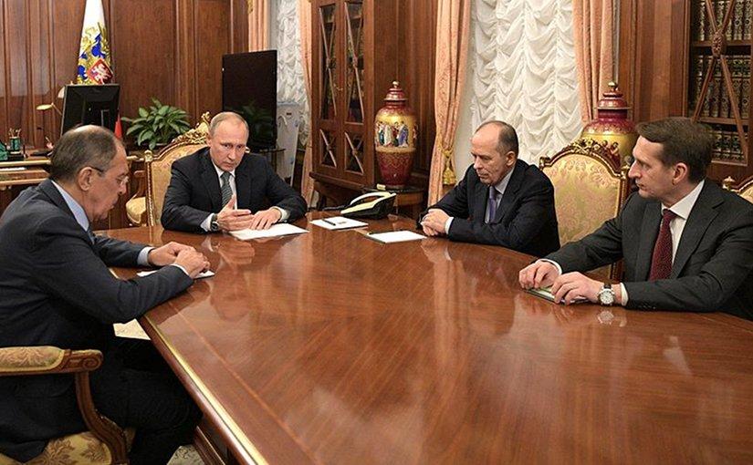 Russian President Vladimir Putin discussing countermeasures after the assassination of Andrei Karlov. Photo Credit. Kremlin.ru