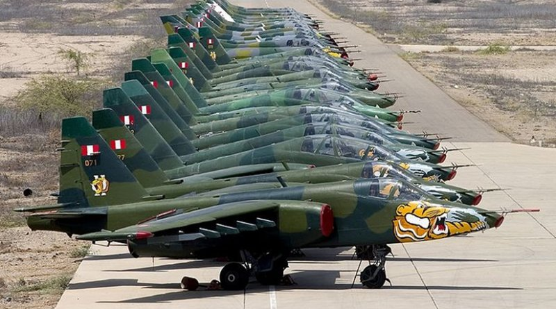 A lineup of Peruvian Sukhoi Su-25s, the country's main attack aircraft. Photo by Chris Lofting, Wikipedia Commons.