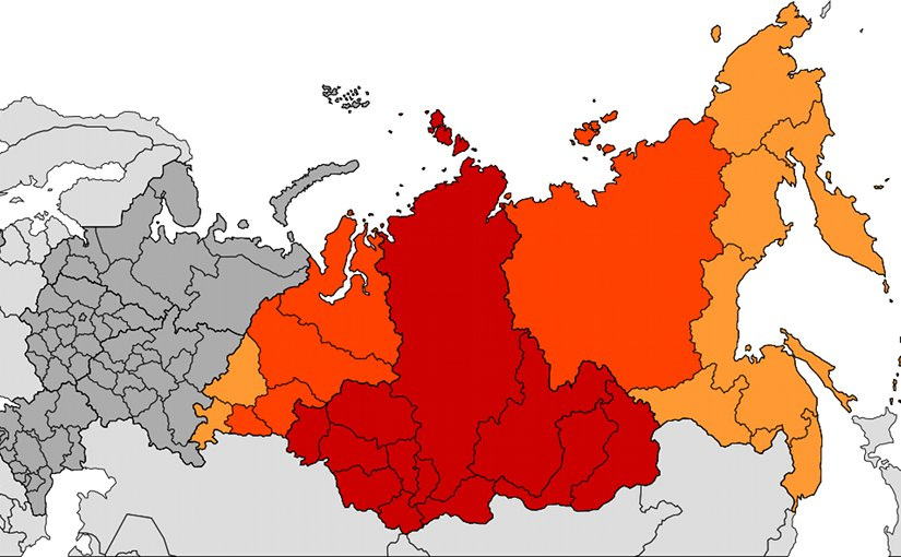 Location of Siberia in Russia (Dark red Siberian Federal District). Source: Wikipedia Commons..