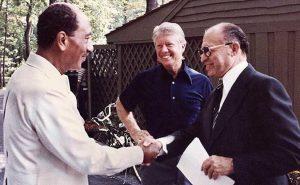 Israel's Menachem Begin, US' Jimmy Carter and Egypt's Anwar Sadat at Camp David. US govt. archives, Wikipedia Commons.