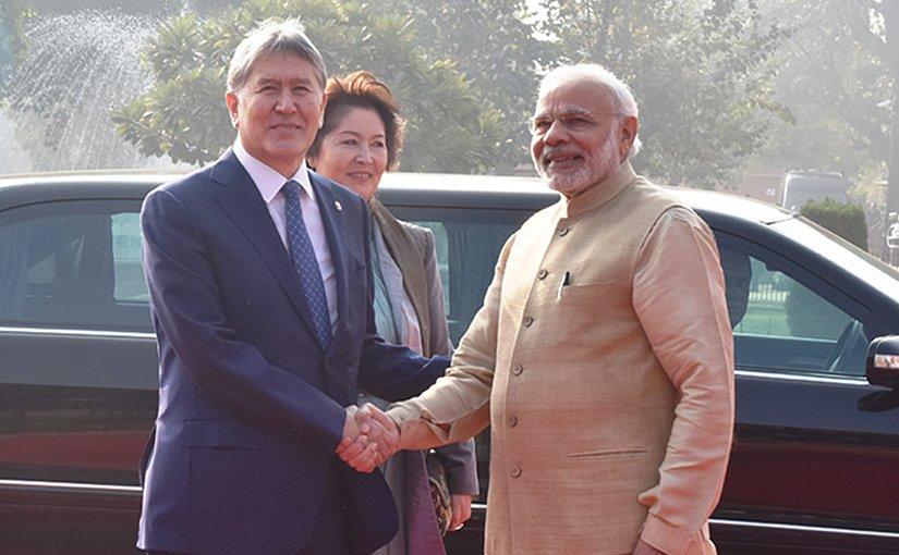 Kyrgyzstan's President Atambayev and India's PM Narendra Modi. Photo Credit: India's PM office.