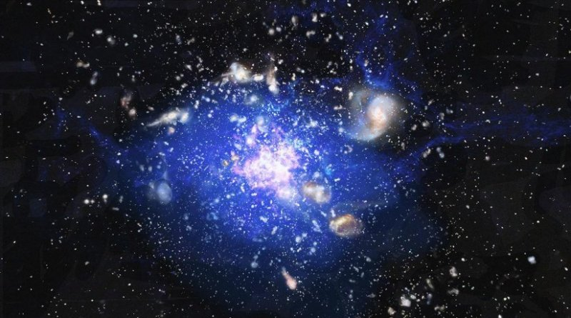 """Artist's impression of a cosmic """"ocean"""" of cold gas, discovered at heart of an embryonic cluster of galaxies, some 10 billion light years away. The central region has been given the name """"Spiderweb"""" though it was previously known as MRC 1138-262, because it seems to consist of tiny galaxies trapped by gravity, rather like flies in a spider's web. The cold gas, the matter from which new stars form, is spread across a quarter of a million light years, and it is expected that this cloud of cosmic gas will condense into a single """"supergalaxy."""" Credit ESO/ M. Kornmesser."""