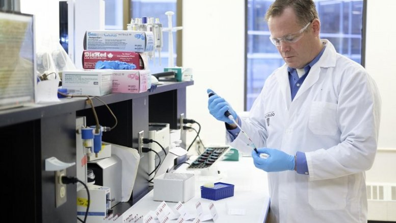 Professor Ken Stark taking a sample of blood in Waterloo's Laboratory of Nutritional and Nutraceutical Research to determine the levels of omega-3 fatty acids. Credit Light Imaging